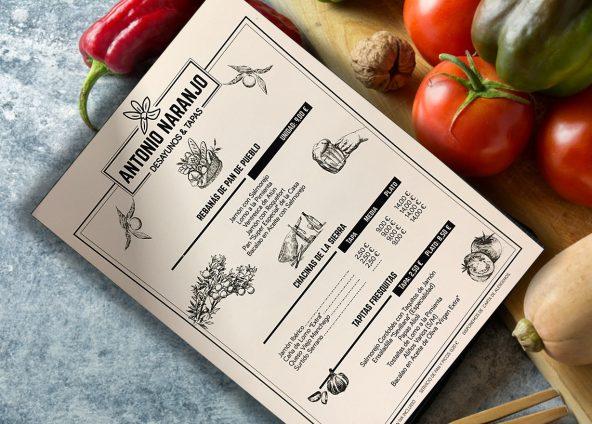 Diseño de cartas de menú Antonio Narbajo