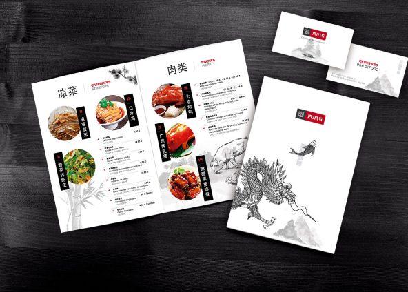 Diseño de cartas y tarjetas de visita para restaurante Ming